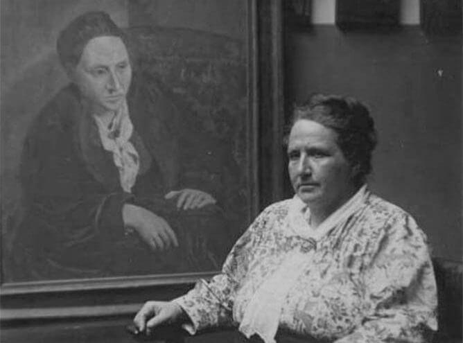 Photo of Gertrude Stein with her Portrait
